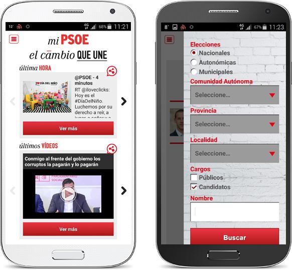 Vista de la aplicación en Android